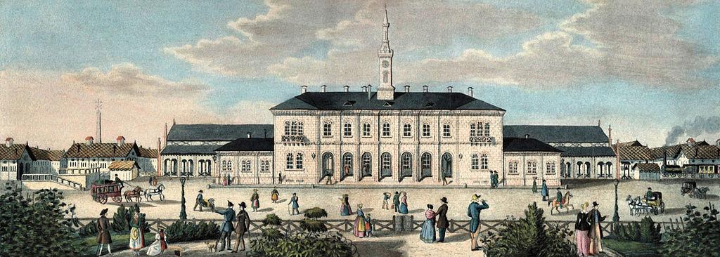 Freiburger_Bahnhof_Kolorierte_Lithographie_nach_1845_Augustinermuseum_Freiburg_Denkmaelerarchiv