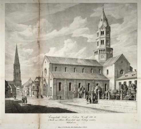 Ludwigskirche Freiburg um 1850
