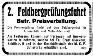 Freiburger Zeitung 1925-06-27_Anzeige_Feldberg Prüfungsfahrt