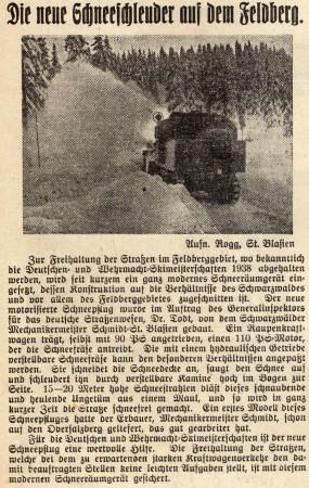 Wiesentäler Zeitung 08011938 Schneeschleuder     011