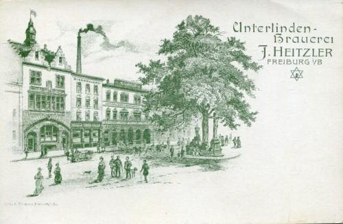 Lithografie der Unterlinden-Brauerei Freiburg