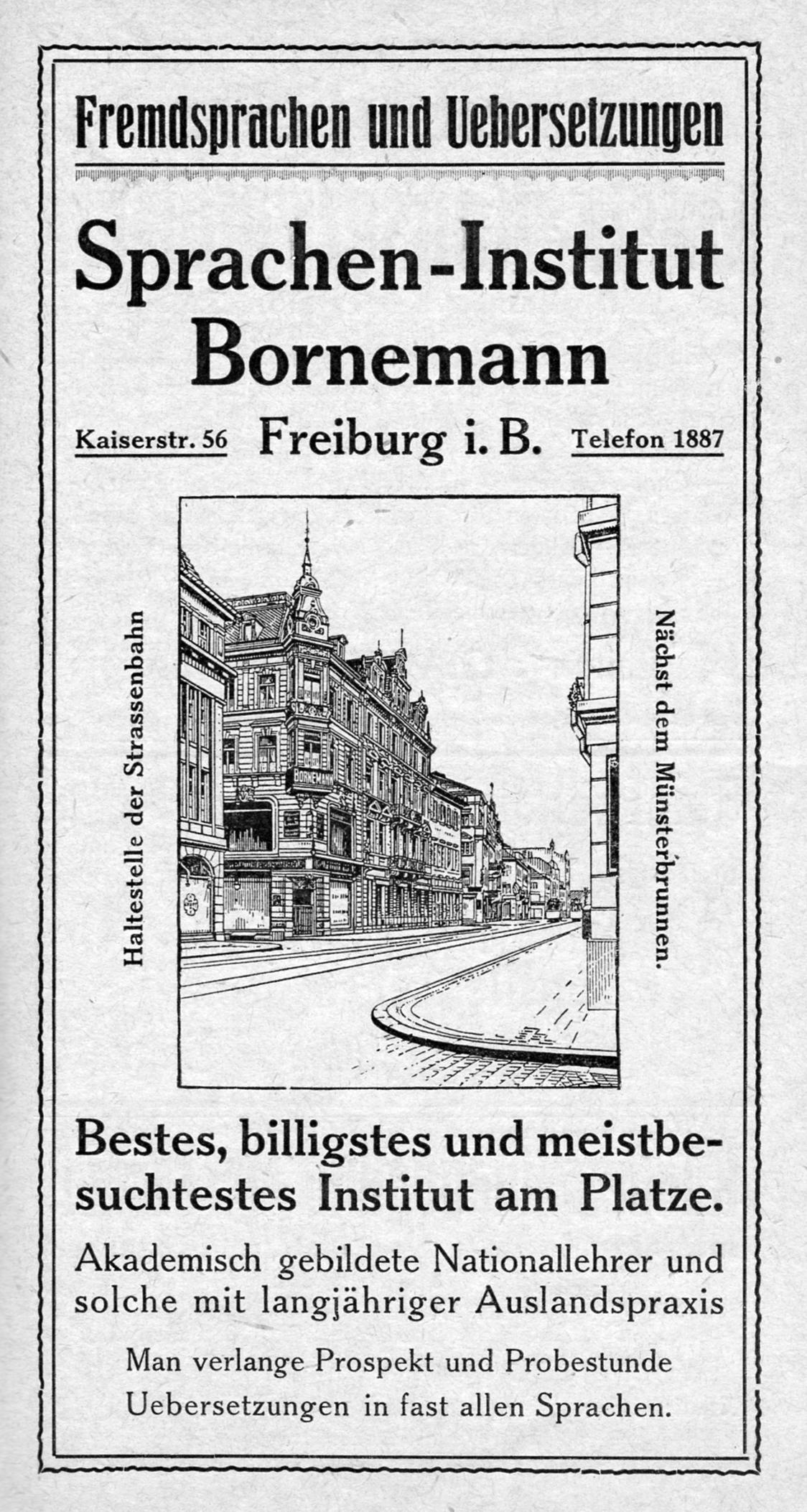 Werbeanzeige des Sprachen-Institut Bornemann Freiburg 1920er Jahre